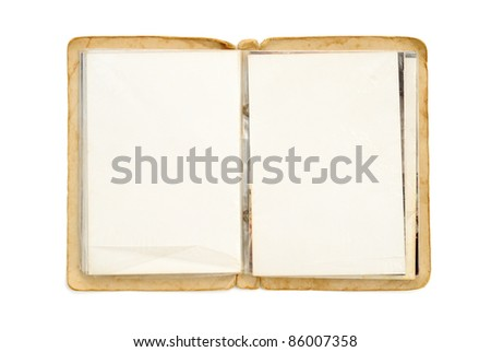 Old picture album isolated on white
