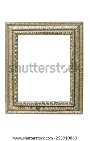 Old picture frame on a white background for pictures and text