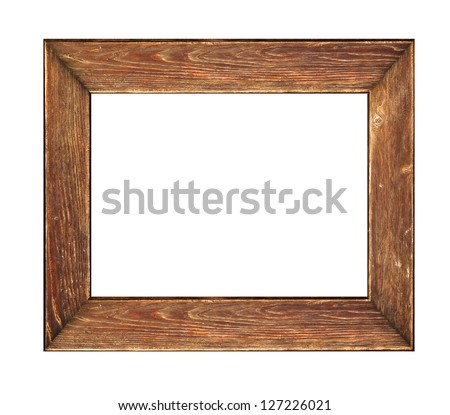 Old picture frame Wood picture frame over a white background