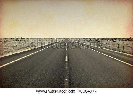 old picture of asphalt road