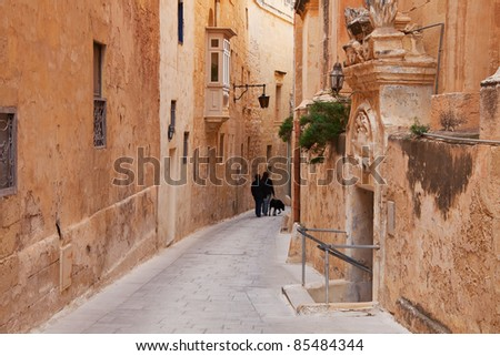 Old picturesque street of Mdina. Malta