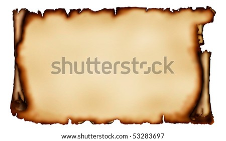Old piece of parchment with torn burnt edges yellowish vintage paper background isolated on white