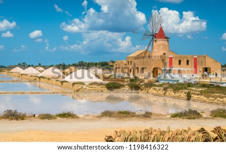 Old pier and windmill at the natural reserve of the