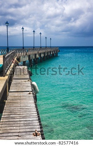 Old pier in Speightstown in the Caribbean island of Barbados