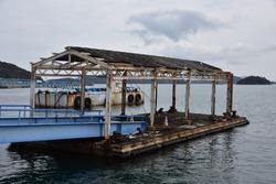 Old pier seen at Uno Port in Tamano City, Okayama Prefecture, Japan