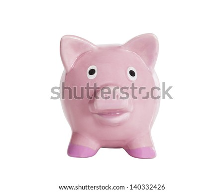 Old piggy bank isolated on white with clipping path.