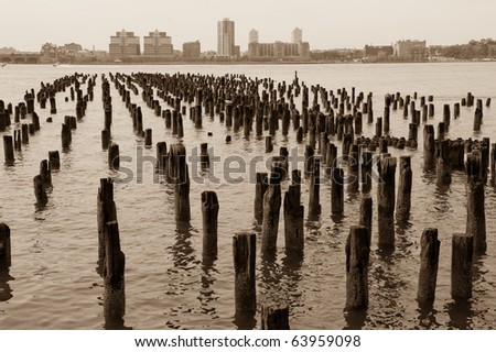 Old Pillars in the Hudson River - stock photo