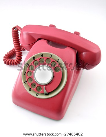 old pink phone - stock photo