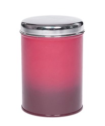 Old pink tin can, isolated on white background