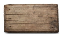 Old plank of wood isolated on white background
