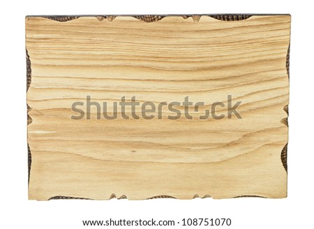 Old plank of wood isolated on white background for sign