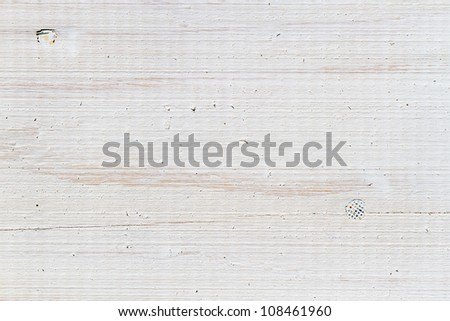 Old plank with nails painted on white