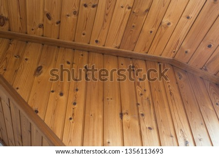 Old plaster and lath ceiling brown wood, vintage design close-up #1356113693