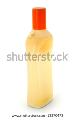 Old plastic bottle. Dusty and dirty. - stock photo