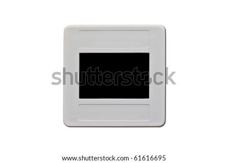 Old plastic slide film mount frame isolated on white background.