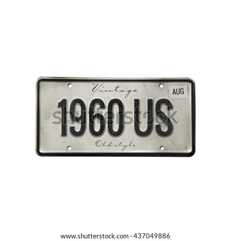 old plate isolated. license...
