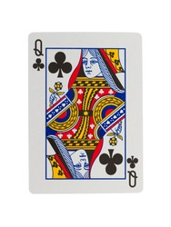 Old playing card (queen) isolated on a white background