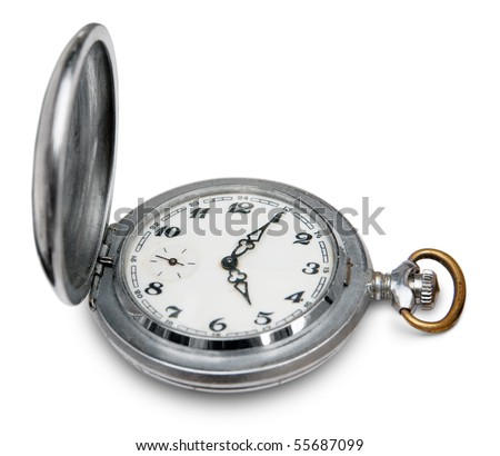 Old pocket clock isolated. Clipping path included.