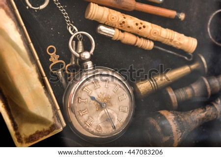 old pocket watch and flea...