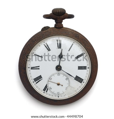 old pocket watch by the time (isolated with clipping path)