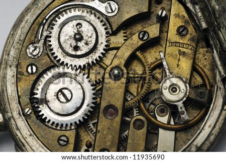 Old pocket watch mechanism