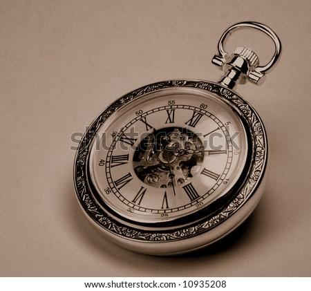 old pocket watch monochrome image
