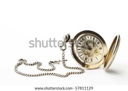 old pocket watch on white background #57811129