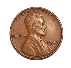old pockmarked 1941 US penny