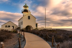 Old Point Loma Lighthouse at sunset in San Diego, California