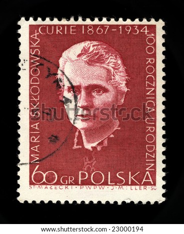 old polish postage stamp commemorating marie curie