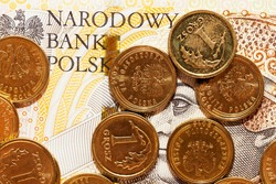old Polish zlotys of different denominations and types that lie together, there are spots on the money and external drawbacks from using it