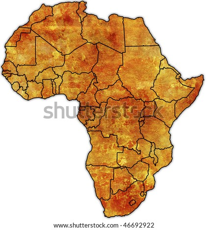old political map of africa - stock photo
