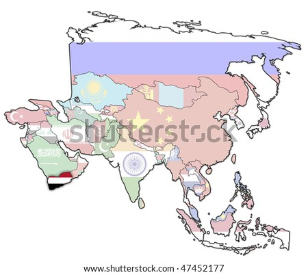 old political map of asia with flag