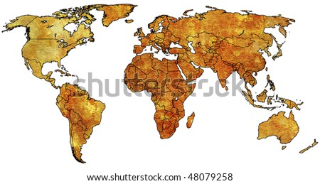 old political map of world with country territories