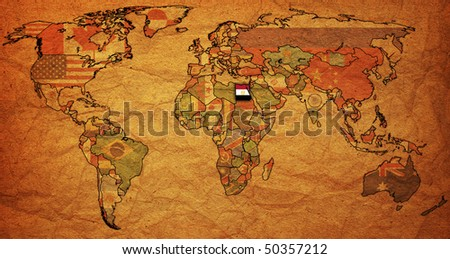 old political map of world with flag of egypt