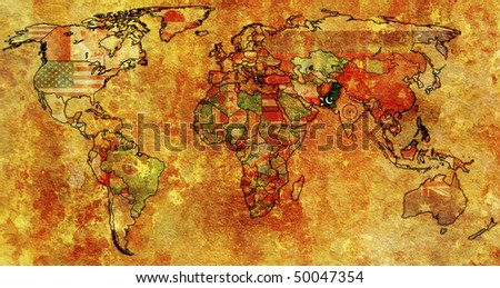 old political map of world with flag of pakistan