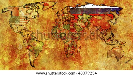 old political map of world with flag of russia