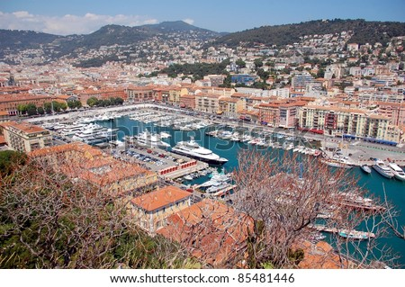 Old port of nice france a view from the city park on the - Parking port nice ...
