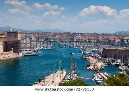 Old port (Vieux Port) - one of the main sight in Marseille, France - stock photo