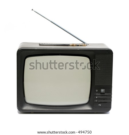 Old portable television photo over white