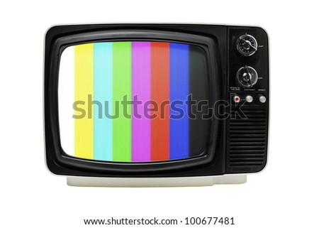 "Old 12"" portable television with color bars test image."