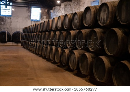 Old porto lodge with rows of oak wooden casks for slow aging of fortified ruby or tawny porto wine in Vila Nova de Gaia, north of Portugal Imagine de stoc ©
