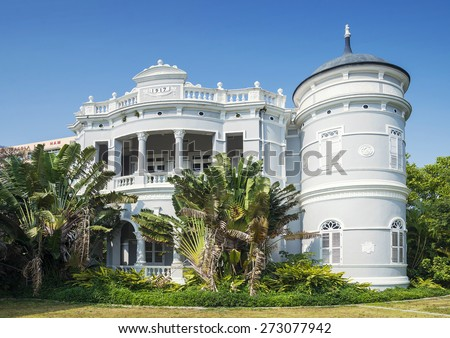 old portuguese colonial white architecture mansion in macau china