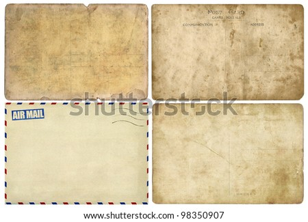Old post card isolated on white, set