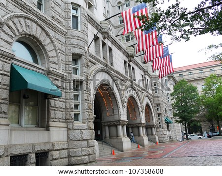 Old Post Office building with American Flags, Washington, DC, United States of America