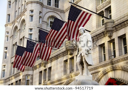 Old Post Office building with Benjamin Franklin Statue, Washington DC, United States