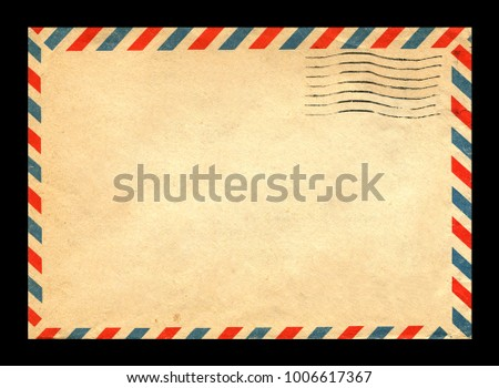 old postage envelope on a black background, message, air mail #1006617367