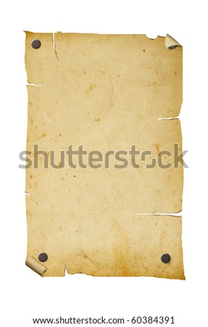 Old poster isolated on white background, clipping path.