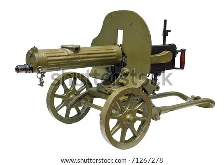 Old Powerful Military machine Gun isolated on white