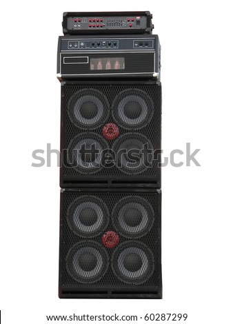 old powerful stage concerto audio speakers and amplifiers isolated on white background